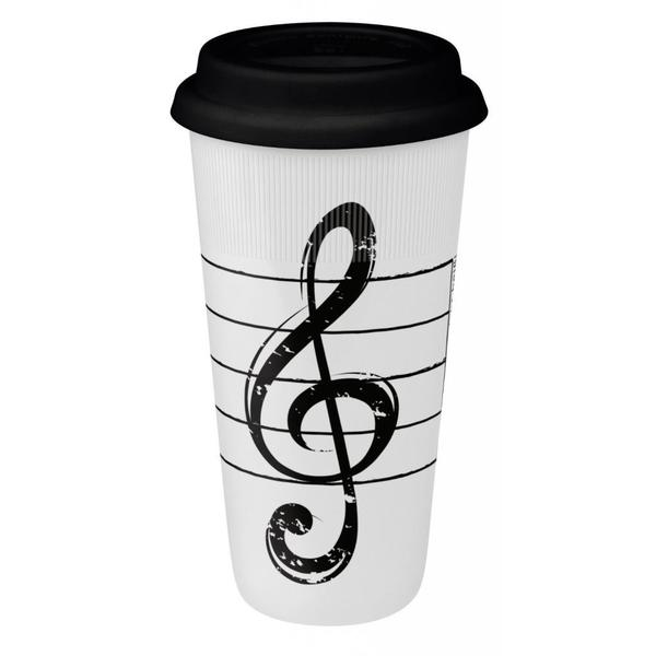 Konitz Treble Clef Large White Travel Mugs (Set of 2)