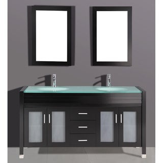 Tempered Glass 71-inch Double Sink Top and Bathroom Vanity with Dual Matching Wall Mirrors in Espresso Finish