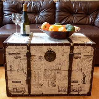 Decorative New York Wood Steamer Trunks Wooden Treasure Hope Chest Set