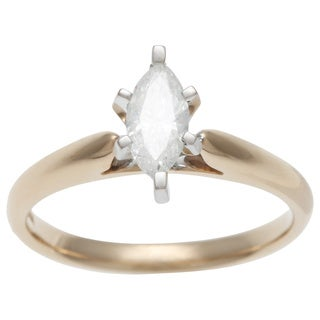 14k Yellow Gold 1/2ct TDW Certified 6-prong Marquise Diamond Solitaire Ring (H-I, I1)