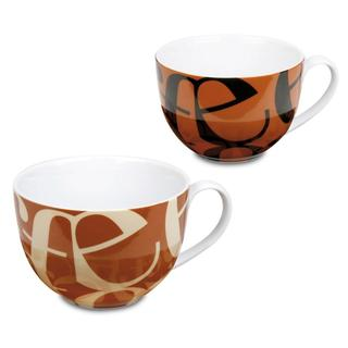 Konitz Script Beige and Black Brown Collage Cafe-au-lait Cups (Set of 2)