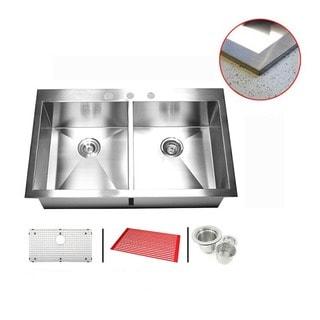 Stainless Steel 33-inch Double Bowl Topmount Drop-in Zero Radius Kitchen Sink with Combo Accessories