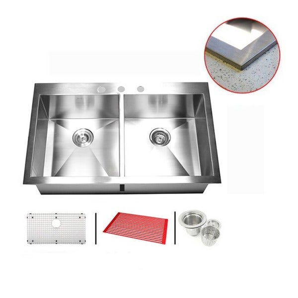 Stainless Steel 33-inch Double Bowl Topmount Drop-in Zero Radius Kitchen Sink with Combo Accessories 11975780