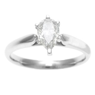 Sofia 14k White Gold 3/4ct TDW Certified 6-Prong Pear Cut Diamond Solitaire Ring (H-I, I1)