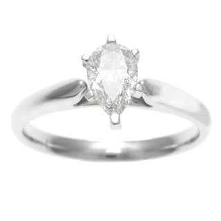 14k White Gold 3/4ct TDW Certified 6-Prong Pear Cut Diamond Solitaire Ring (H-I, I1)