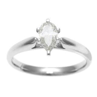 14k White Gold 1/2ct TDW Certified 6-Prong Pear Cut Diamond Solitaire Ring (H-I, I1)