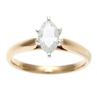 14k Yellow Gold 3/4ct TDW Certified 6-Prong Marquise Diamond Solitaire Ring (H-I, I1)