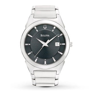 Bulova Men's Stainless Steel Black Dress Watch