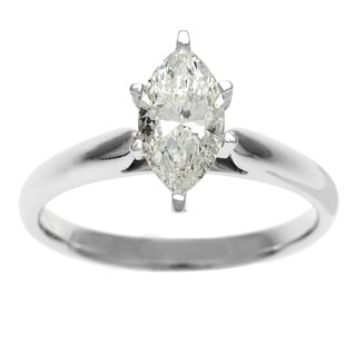 14k Gold 1ct TDW Certified 6-Prong Marquise Diamond Solitaire Ring (H-I, I1)