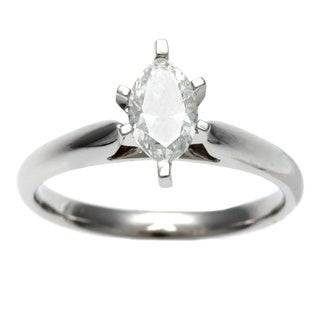 14k Gold 3/4ct TDW Certified 6-Prong Marquise Diamond Solitaire Ring (H-I, I1)