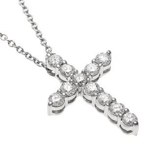 Sofia 18k White Gold 1/2ct TDW Certified Diamond Cross Necklace (E-F, SI2)