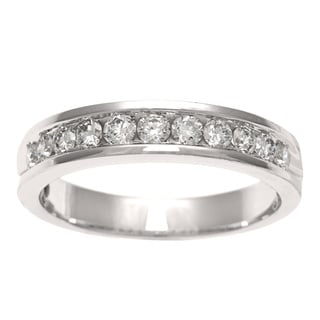 Women's 18k White Gold 1/2 CT TDW Diamond Wedding Band (E-F, SI2)