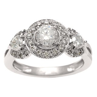 14k White Gold 1ct TDW Certified Diamond 3-stone Vintage Ring (H-I, I1)