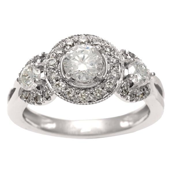 Sofia 14k White Gold 1ct TDW Certified Diamond 3-stone Vintage Ring (H-I, I1)