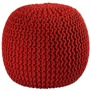16-inch Red Cotton Rope Pouf Ottoman