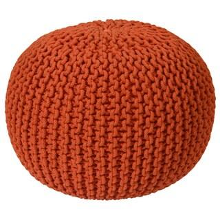 16-inch Orange Cotton Rope Pouf Ottoman
