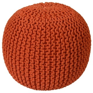 16-inch Orange Cotton Rope Pouf Ottoman