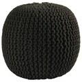 16-inch Black Cotton Rope Pouf Ottoman
