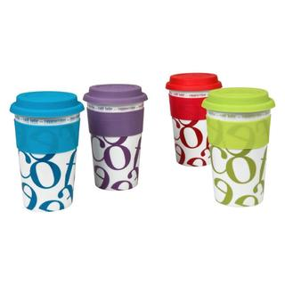 Konitz Assorted Medium Script Collage Travel Mugs (Set of 4)