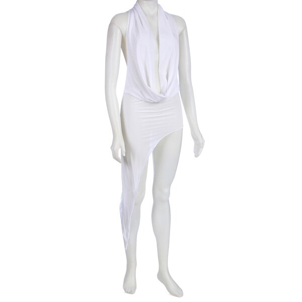 Drape Front Floor Length Dress w/G-String in White by Pink Lipstick