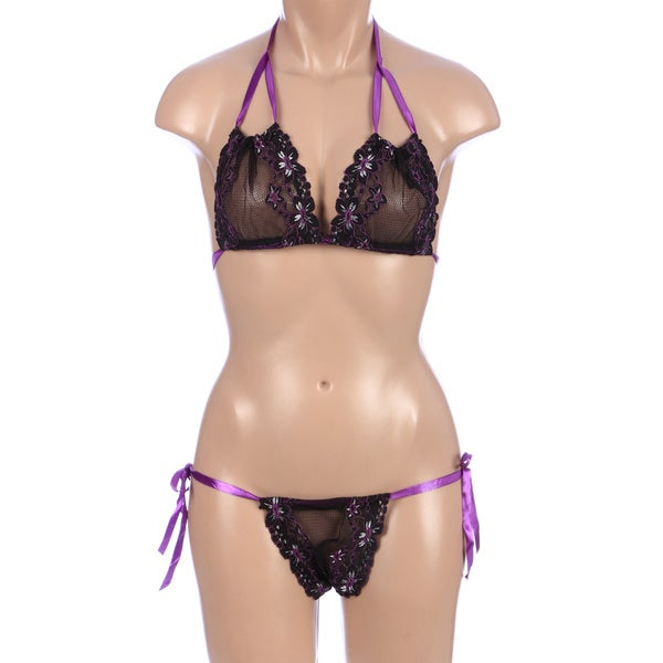 Rene Rofe Black Lace Tie-Up Bra & Thong