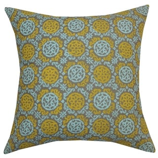 Slate Grey Batik Medallion Throw Pillow (India)