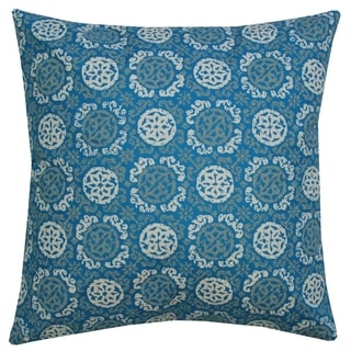 Seaport Blue Batik Medallion Throw Pillow (India)