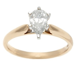 Sofia 14k Yellow Gold 1ct TDW Certified Pear Cut Diamond Solitaire Ring (H-I, I1)
