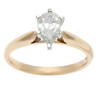 14k Yellow Gold 1ct TDW Certified Pear Cut Diamond Solitaire Ring (H-I, I1)