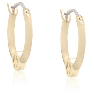Molly and Emma 18k Gold Overlay Children's 'Peace Sign' Hoop Earrings