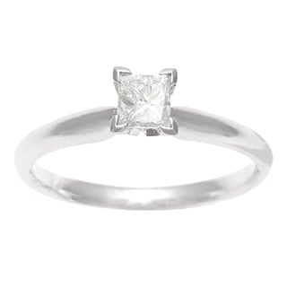 18k Gold 1/2ct TDW Certified Diamond Solitaire Engagement Ring (E-F, SI2)