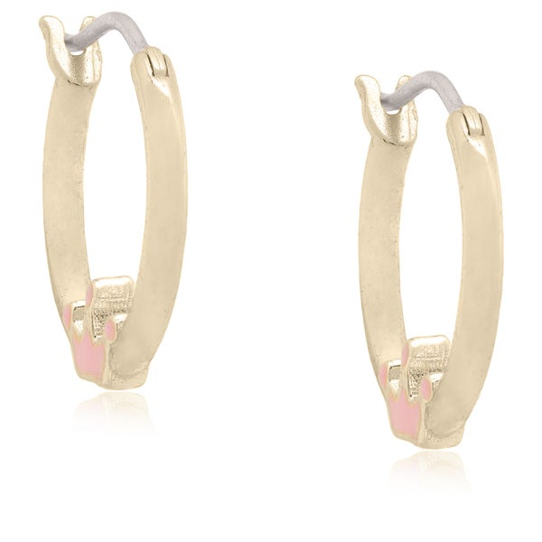 Molly and Emma 18k Gold Overlay Children's Enamel Crown Hoop Earrings
