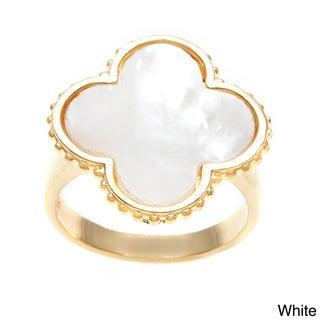 La Preciosa Sterling Silver Gold-Plated Mother of Pearl Clover Ring