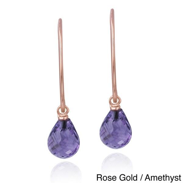 Glitzy Rocks Sterling Silver Gemstone Briolette-cut Dangle Earrings