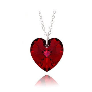 Crystal Ice Sterling Silver Red Crystal Heart Necklace