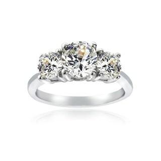 Icz Stonez Silvertone Cubic Zirconia 3-stone Ring