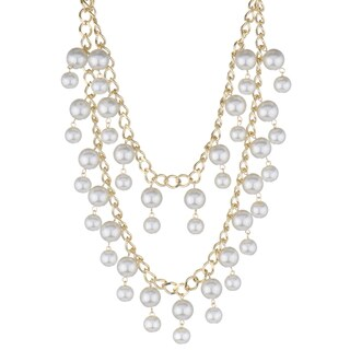 Goldtone White Faux Pearl Statement Necklace