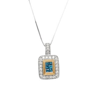 14k Two-tone Gold 1/2ct TDW Blue and White Diamond Necklace (H-I, I2-I3)
