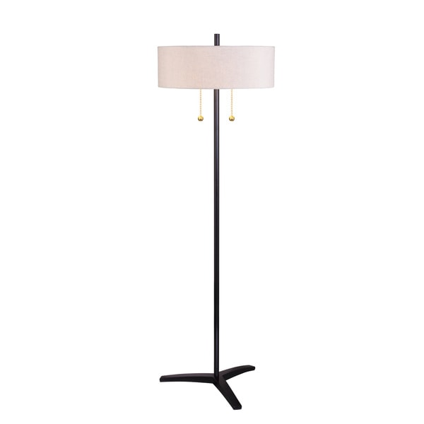 Poly & Metal 2-light Black Gloss Finish Double Pull Chain Floor Lamp