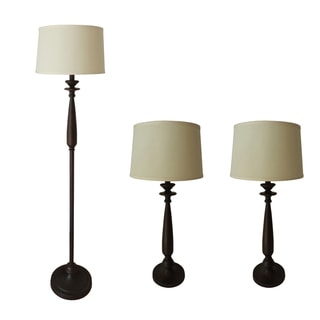 Metal & Resin 3-Piece Antique Brown Finish Lamp Set