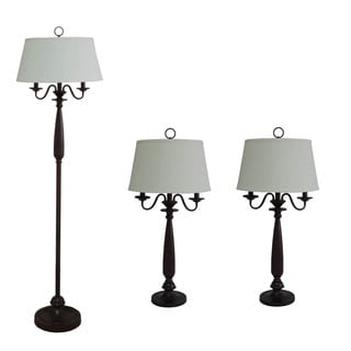 Metal & Resin 3-Piece Antique Brown Finish Candelabra Arms Lamp Set