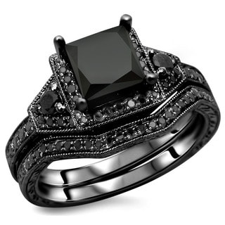 14k Black Gold 2ct TDW Certified Black Princess-cut Diamond Engagement Ring Bridal Set