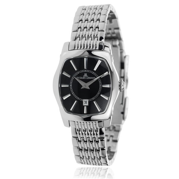 Jacques Lemans Women's Silver Stainless Steel Analog Rectangle Face Watch