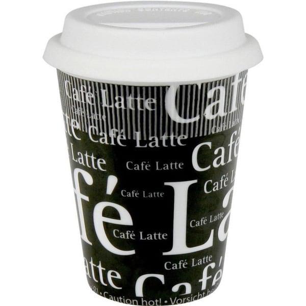 Konitz Black and White 'Cafe Latte' Travel Mugs (Set of 2) 11980456
