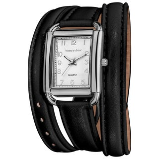 Vernier Women's Quartz Silver-Tone Black Genuine Leather Triple Wrap Strap Watch