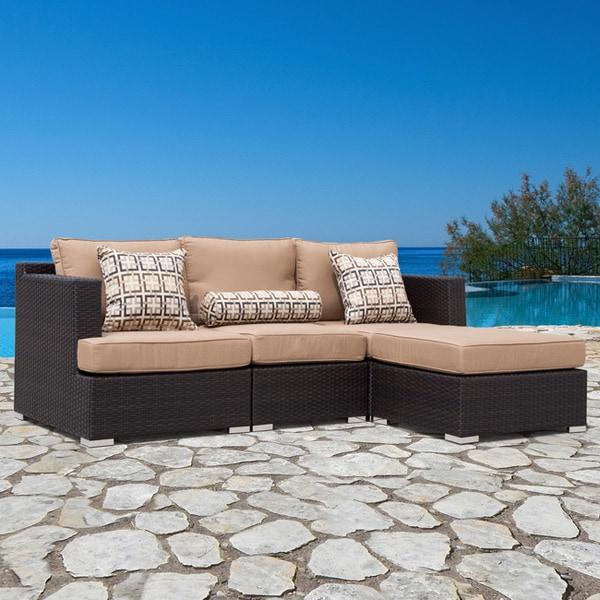 Corvus Morgan 4-piece Modular Outdoor Seating Set with Sunbrella Fabric Cushions and Pillows