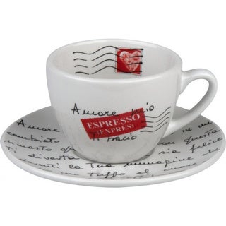 Konitz Coffee Bar Amore Mio Coffee Cups and Saucers (Set of 4)