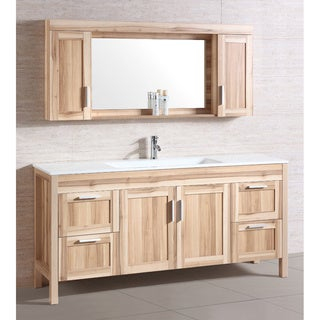 Single Ceramic Sink Top 71-inch Vanity with Matching Wall Cabinet and Mirror