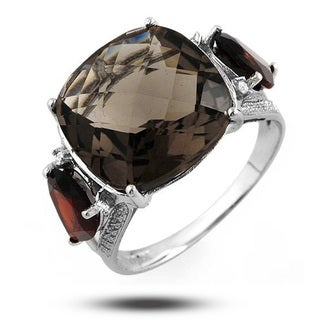 De Buman 10k White Gold Genuine Tea Quartz, Garnet and Diamond Ring
