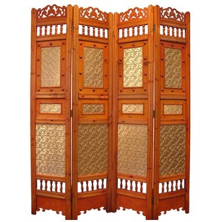 Roman Shabby Room Divider Screen 4-panel Wooden Frame